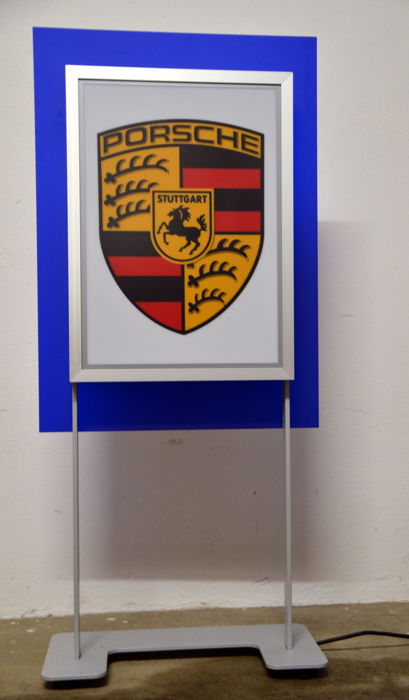 Illuminated sign - both sides illuminated - for Porsche dealer by the Klostermann GmbH in Germany