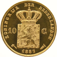 The Netherlands – 10 guilder coin, 1887 (S) – Willem III – gold