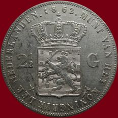 The Netherlands – 2 ½ guilder coin 1862a (with dot), Willem III – silver