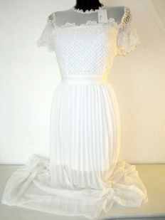 Paccio, new long white see-through dress with tag
