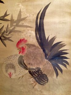 'Rooster, chicken and bamboo' by Mikata Kaizan 味方海山 (1863-1942) - old highly remarkable handpainted scrollpainting, signed and sealed - Japan - ca. 1900
