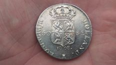 """Kingdom of Holland - 50 """"stuivers"""" (5 cent coin) 1808, Lodewijk Napoleon - silver."""