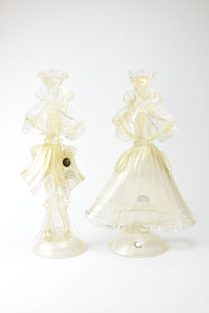 "Paolo Rubelli (Rubelli glasswork) - collectible sculpture ""Venetian Lady and Knight"""