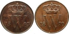 Netherlands - 1 cent 1863 and 1870 Willem III