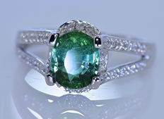 2.12 ct Green Tourmaline with Diamonds ring - No reserve price!