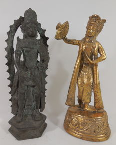 Two sculptures – Hindu-Javanese inspired and legong dancer – Java/Bali – Indonesia