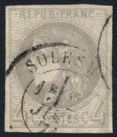 France 1870 - Cérès Bordeaux 4c grey, cancelled Solesmes - Yvert no. 41B