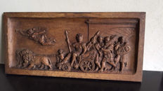 A beautiful carved relief panel with a Roman chariot drawn by lions, first half 20th century
