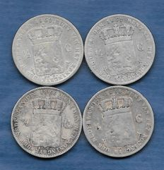 The Netherlands - ½ guilder 1857, 1858, 1859 and 1866 Willem III (4 pieces) - silver