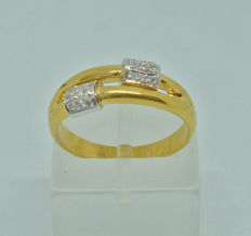 18 kt yellow gold Ring with  diamonds 0,09 ct - Size: 53,5