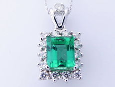 Diamond pendant with a rare natural 1.20 ct columbian  cut  green emerald  I.G.I. certificate and 15 diamonds total 0.30 ct-18 kt  Weight: 2.63 gr Including chain 42 cm