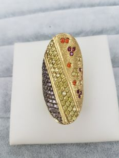 18 kt gold ring with coloured Swarovskis - Made in Italy - 4 cm x 2 cm - Size: 14 - Diameter: 17.