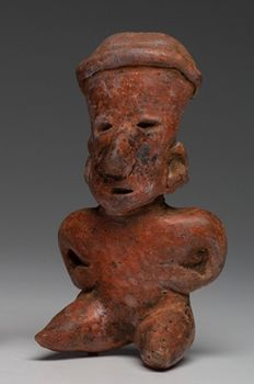 Pre-Columbian seated figure - Nayarit culture - San Sebastián style - Mexico - 15 cm
