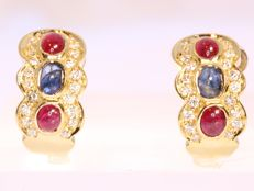 Italian bicolour gold ruby, sapphire and diamond earrings