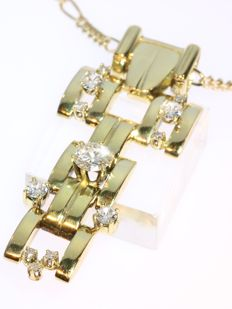 Retro diamond and gold 'tank' pendant with necklace - anno 1950
