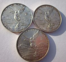 Mexico - Lot of 3 ounces of pure silver from 2008/2011, 'Libertad' (Liberty) coin