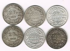 Switzerland - 6 x 2 Francs 1886-1961 - silver