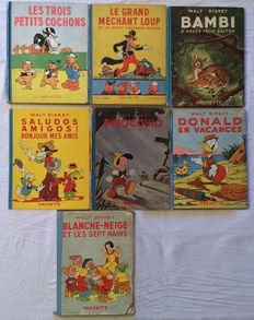Disney, Walt -  7 Albums - E.A. Pinocchio + Le Grand Méchant Loup (The Big Bad Wolf) - 7 x C - 1st edition - (1934-1948)