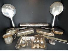 Large lot with silver plated items.