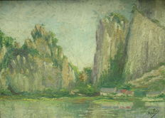 Unreadable (early 20th century) - Langs de oevers van de Maas (Along the banks of the Meuse)
