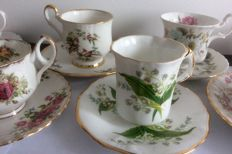 9 various English cups and saucers