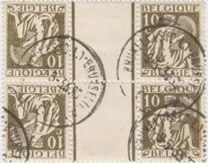 Belgium, 1931, KT 13, cancelled/used, in pair