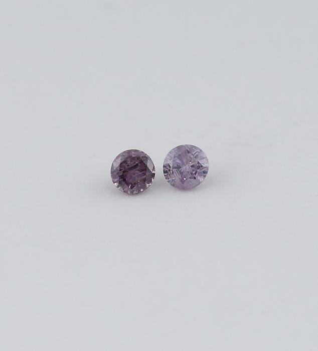 Pair 0.02 + 0.02 = 0.04 ct. Round Brilliant Diamonds - Natural Fancy Pink - I 2