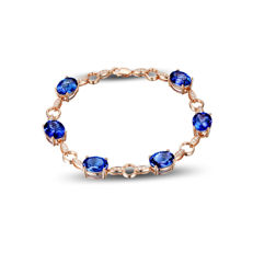 14 kt rose gold bracelet with tanzanite in VS clarity (total of 11.35 ct) and natural diamonds G-H/SI1 (total 0.36 ct)