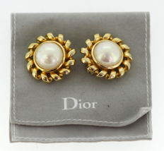 Christian Dior - Vintage gold plated earrings with pearls, ca.1990
