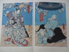 Original diptych woodcut by Utagawa Kunisada (1786-1865) - Japan - Around 1855