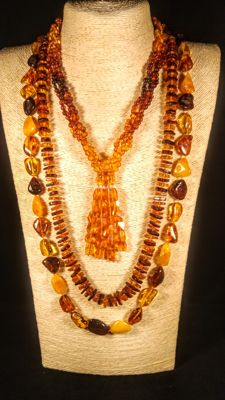Set of 3 Baltic Amber necklaces,  110 grams