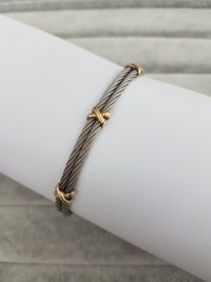 18 kt yellow gold and steel bracelet with a love knot - 6.4 cm
