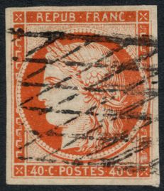 France 1849 – Cérès 40c orange, grid cancelled without ends, signed CALVES and BAUDOT – Yvert n° 5