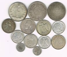Islamic Countries - 13 Various Silver Coins