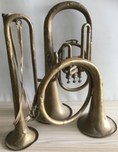 3 items: decorative copper wind instruments