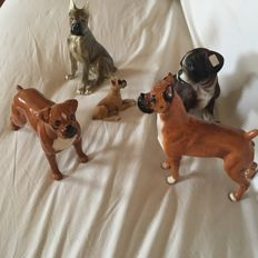 Collection - 5 ceramic boxer - Royal Doulton -Beswick - Vienna