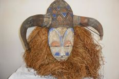 African polychrome initiation mask - YAKA - D.R. Congo