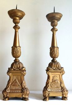 Pair of hand-made large church candlesticks - Belgium (Antwerp) - early 19th century