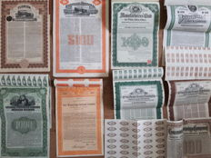 9 x USA  Dollar Gold  Bonds, including (Coxrail) railroad  and  Philadelphia Gold Bonds,  all issued, coupons  and uncancelled, 1908-1927