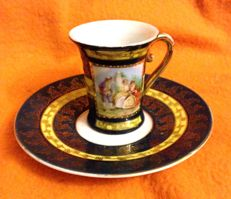 A beautiful , Vienna porcelain , special celebration , cup and saucer , Empire style  , early 20th Century