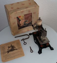 Casige child sewing machine with original packaging, approx. 1947, British zone in Germany