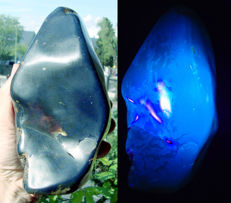 Polished blue amber - 180 x 95 x 90mm - 840gm / 4200ct