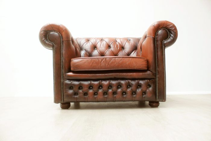 Padded Chesterfield Armchair   Circa 2000, England