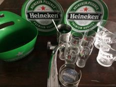 Heineken Beer Tap from 2003 with lighting package 2 steel trays from the 1980s beer jugs and glasses with logo etc.
