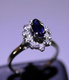 Ring 18 kt gold 0.70 ct sapphire and 10 diamonds 0.10 – 16.5 mm ring size