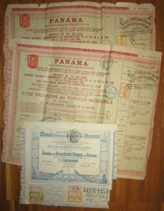 Panama - Compagnie Universelle du Canal Interoceanique de Panama (Panama Canal) - Action Share 1880/1888 - Lot of 3