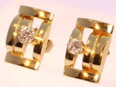 Retro diamond 'tank' earrings in yellow gold - anno 1950