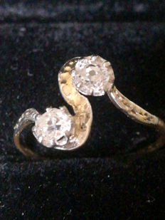 Toi et Moi antique ring set with two antique-cut diamonds, 0.50 ct.