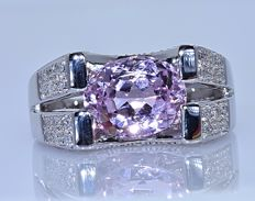 3.39 Ct pink Kunzite and Diamonds ring - No reserve price!