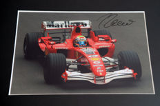 Professionally framed image, personally signed by Felipe Massa